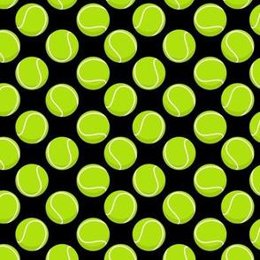 (small scale) tennis balls on black