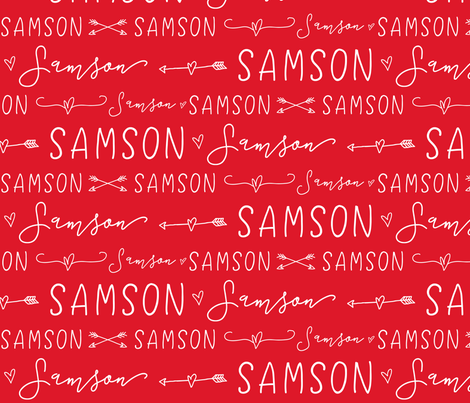 Girls Personalized Name // Red and White Doodles - Samson fabric by heatherhightdesign on Spoonflower - custom fabric