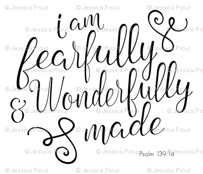 "fat quarter - 42"" width fabric - Fearfully and Wonderfully Made - black"
