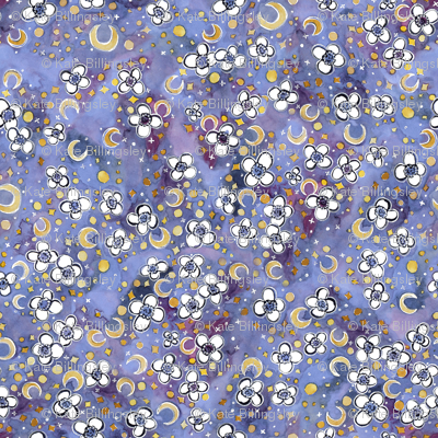 Moon garden lilac fabric katebillingsley spoonflower for Moon garden designs