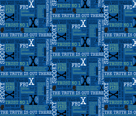 IWTB Spooky Agents X-Files Inspired - Blue fabric by just-joshin on Spoonflower - custom fabric