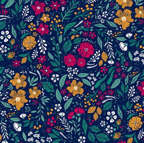 Block Print Botanical  // Smaller and Rotated fabric by jacquelinehurd on Spoonflower - custom fabric