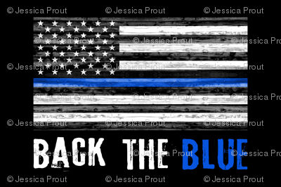 1 yard minky - back the blue - thin blue line police