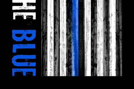 2 yard minky panel - back the blue- thin blue line fabric by littlearrowdesign on Spoonflower - custom fabric
