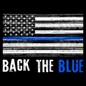 "fat quarter panel - 42"" width - back the blue - thin blue line"