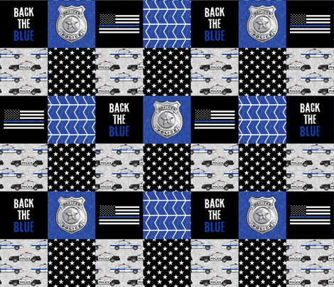 Police Patchwork  - thin blue line - back the blue wholecloth fabric by littlearrowdesign on Spoonflower - custom fabric