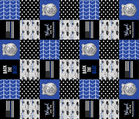 Police Patchwork - Blessed are the peacemakers - thin blue line - back the blue wholecloth (90) fabric by littlearrowdesign on Spoonflower - custom fabric