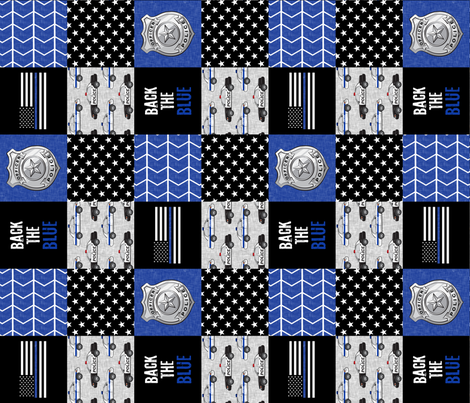 Police Patchwork  - thin blue line - back the blue wholecloth (90) fabric by littlearrowdesign on Spoonflower - custom fabric