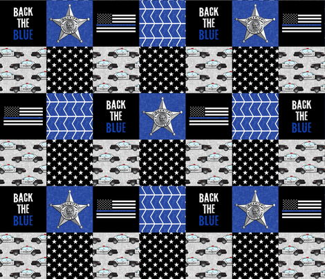 Sheriff Patchwork  - back the blue - thin blue line flag -  wholecloth fabric by littlearrowdesign on Spoonflower - custom fabric