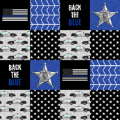 Sheriff Patchwork  - back the blue - thin blue line flag -  wholecloth
