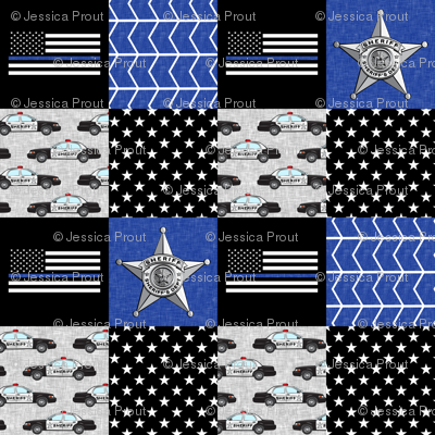 Sheriff Patchwork  - thin blue line flag -  wholecloth