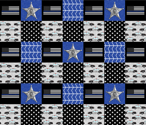 Sheriff Patchwork  - thin blue line flag -  wholecloth fabric by littlearrowdesign on Spoonflower - custom fabric