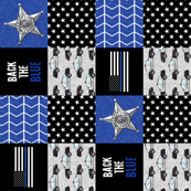 Sheriff Patchwork  -back the blue - thin blue line flag -  wholecloth (90)