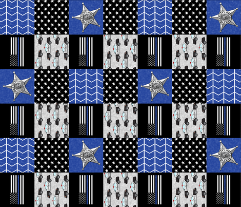 Sheriff Patchwork  - thin blue line flag -  wholecloth (90) fabric by littlearrowdesign on Spoonflower - custom fabric