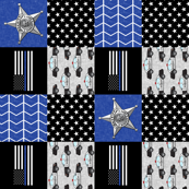 Sheriff Patchwork  - thin blue line flag -  wholecloth (90)