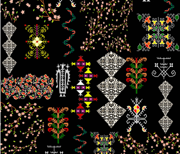 Mixed Print (Black) fabric by kkamini on Spoonflower - custom fabric