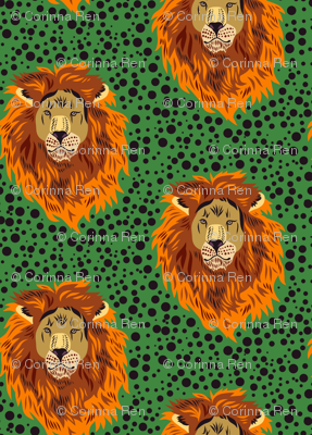 Lion and Dots in Orange