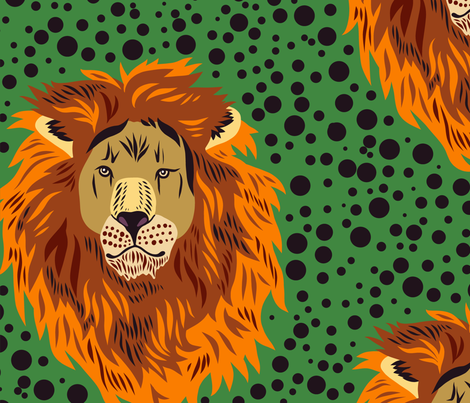 Lion and Dots in Orange fabric by roguerens on Spoonflower - custom fabric