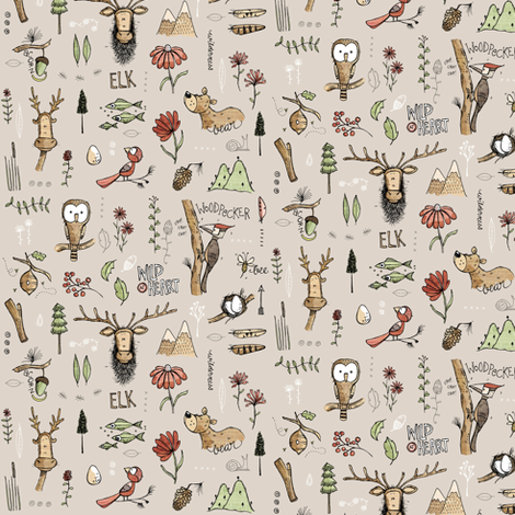 Nature Study - With Elk! - Teeny tiny fabric by mulberry_tree on Spoonflower - custom fabric