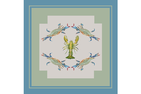 Heathers Shellfish_Scarf36 inch blue fabric by erica_lindberg_designs on Spoonflower - custom fabric