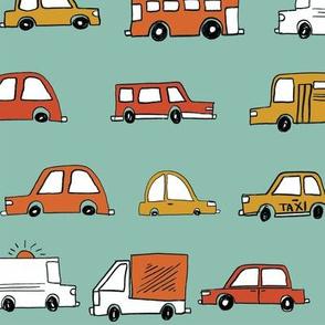 cars // baby boy fabric nursery buses car cute kids mint