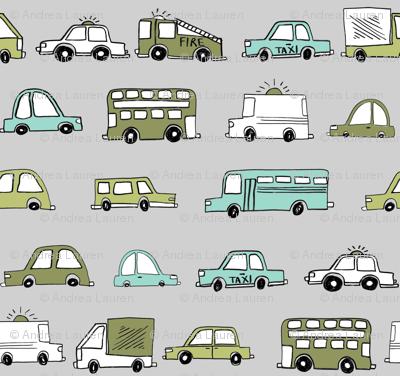 cars // baby boy fabric nursery buses car cute kids grey