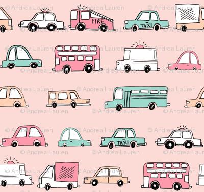cars // baby boy fabric nursery buses car cute kids blush
