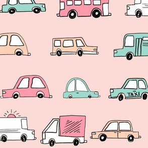 cars // baby boy fabric nursery buses car cute kids blush