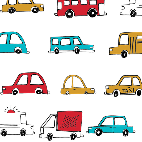 cars // baby boy fabric nursery buses car cute kids white  fabric by andrea_lauren on Spoonflower - custom fabric