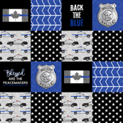 Police (Canadian Flag) Patchwork  - Blessed are the peacemakers -  thin blue line flag -  wholecloth