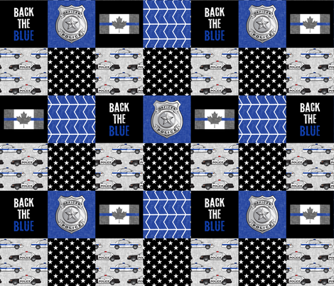 Police (Canadian Flag) Patchwork  - back the blue -  thin blue line flag -  wholecloth fabric by littlearrowdesign on Spoonflower - custom fabric