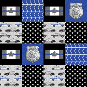 Police (Canadian Flag) Patchwork  - thin blue line flag -  wholecloth