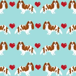 cavalier king charles spaniel blenheim love hearts dog fabric turquoise blue