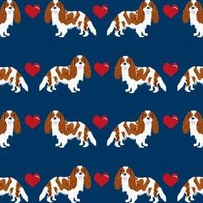 cavalier king charles spaniel blenheim love hearts dog fabric navy