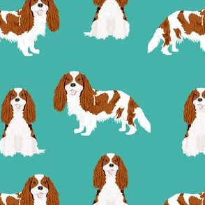 cavalier king charles spaniel blenheim simple dog fabric turquoise