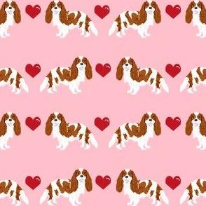 cavalier king charles spaniel blenheim love hearts dog fabric pink