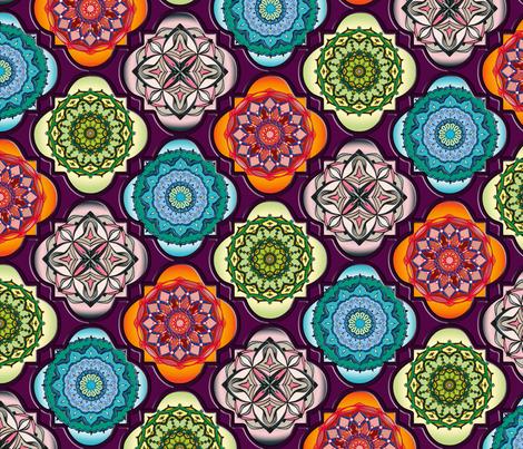 Spanish Tiles on magenta fabric by pearlposition on Spoonflower - custom fabric