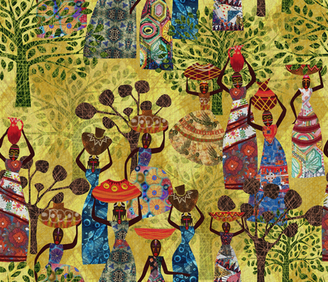 Women of Africa a Tapestry of life fabric by mimipinto on Spoonflower - custom fabric