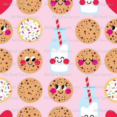 aloha milk and cookies on pink