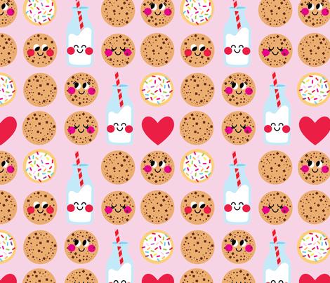 aloha milk and cookies on pink fabric by alohababy on Spoonflower - custom fabric