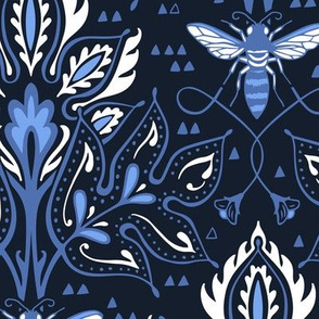 Bee Damask - DEEP COBALT