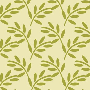 Vintage Mossy Olive Leaf Print on a Creamy Background, Arts and Crafts Style,