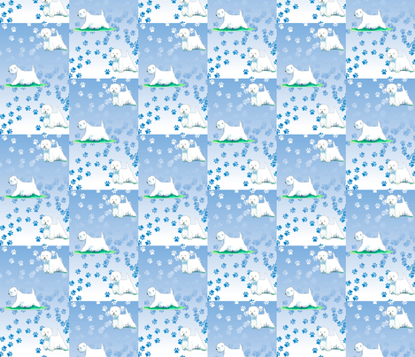 Westie Pawprint Trail West highland White Terrier fabric by altrincham on Spoonflower - custom fabric