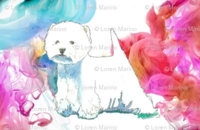 westie in color swirls West highland white Terrier