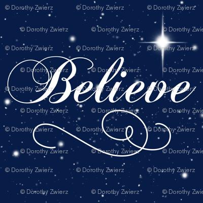 Believe Script - Navy Background