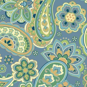 Blue and Gold Paisley