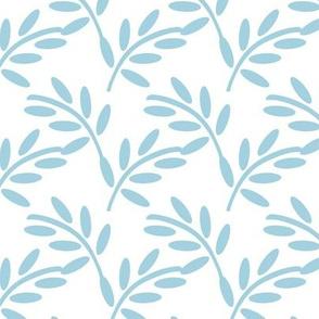 Interlocking Pastel Blue Leaves, Tangled Shapes, Spring Botanicals in Blue,