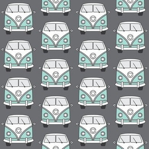 repeating blue camper vans on charcoal