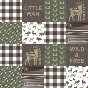 Little Man/Wild & Free - Woodland patchwork - C2 Brown Plaid