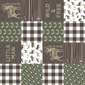 Little Man/Wild & Free - Woodland patchwork - C2  Brown Plaid (90)